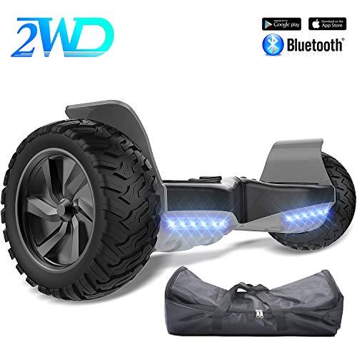 2WD Pack: Hoverkart + Hoverboard 8.5pouces Gyropode Hummer Tout-terrain avec haut-parleur Bluetooth de haute qualité,fonctionné APP (Hoverboard-Noir Hoverkart-Blanc)
