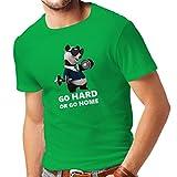 Männer T-Shirt Go Hard or Go Home - Boxen, Heben, Fitnessstudio, Fitness - lustige Übungskleidung (Medium Grün Mehrfarben)