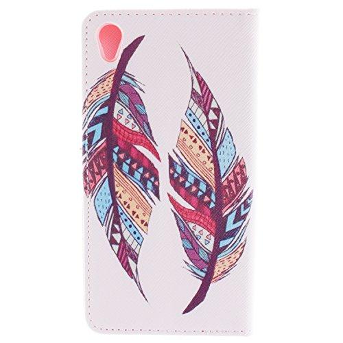 MCHSHOP(TM) Vielzahl von Mustern Book Style Design Leder Tasche Flip Case Cover Schutzhülle Etui Hülle Schale Für Sony Xperia Z3 mit Kartensteckplätze Standfunktion - 1 Touch pen kostenlos (Löwenzahn  Tribal Aztec Feather