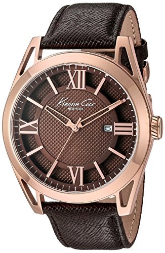 Kenneth Cole KC8073 44mm Stainless Steel Case Brown Calfskin Mineral Men's Watch (Certified Refurbished)