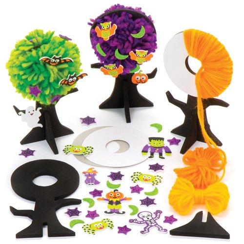 Baker Ross Pompon-Bastelsets Halloween-Baum als lustiges Spielzeug für Kinder zum günstigen Preis - perfekt als kleine Party-Überraschung für Kinder zu Halloween (3 Stück) (Lustige Ideen Für Kinder-halloween-party)