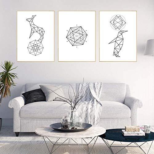 ziweipp Nordische Art-Geometrie-Diagramm-Segeltuch-Malerei, abstrakte Muster-dekorative Plakat-Segeltuch-Kunst, Moderne Inneneinrichtung kein Rahmen 70 * 50cm