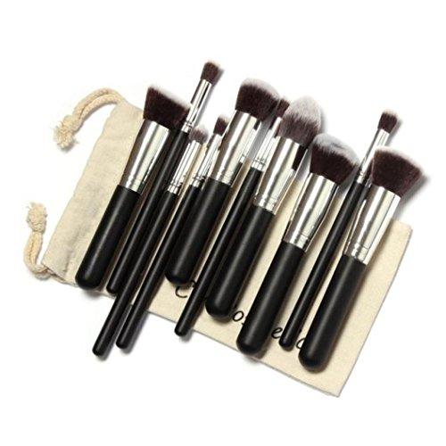 Honestyi Kit de 10 brosses de maquillage Trousse de maquillage (argent)