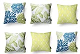 #5: Modern Homes 100% Cotton Floral Design Blue-Green Decorative Throw Pillow/ Cushion Covers (Set of 6 with zip) - 16 x 16 inch / 40 x 40 cm