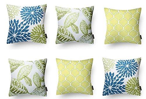 Modern Homes 100% Cotton Floral Design Blue-Green Decorative Throw Pillow/ Cushion Covers...