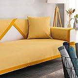 Copridivano angolare [Antiscivolo] Couch Cover Cotone e lino Four Seasons Universal Divano Protector Stile nordico Semplice moderno Combinazione domestica Slipcovers- giallo,70x180cm(28x71in)