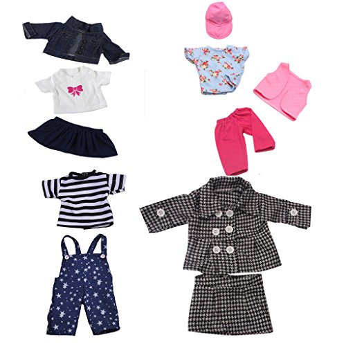 Gazechimp 11 Stück/ 4 Sets Puppen Kleidung Hosen Jacke Rock Hut Für 18 '' American Girl Dolls Party Dress Up Zubehör American Baby-puppe