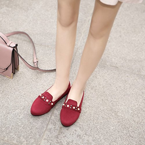 YOUJIA Femmes Bout Rond Perlée Slip On Mocassins Escarpins Plate Chaussures en Suédine Rouge