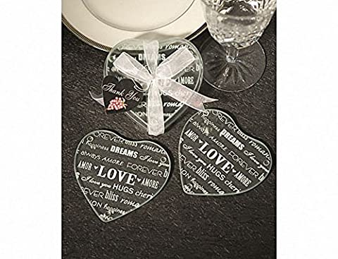 Heart Design Glass Coaster Favors (set of 2). Great wedding favours, birthday gifts,baby shower presents, christmas stocking fillers and