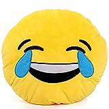 Brigamo 510 - Emoticons KISSEN AUS PLÜSCH, 30 cm Durchmesser,Smiley Kissen mit diversen Motive zum sammeln (Emoji mit Freudentränen)