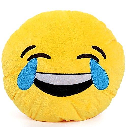 Brigamo 510 - Emoticon KISSEN AUS PLÜSCH, 30 cm Durchmesser,Smiley Kissen mit diversen Motive zum sammeln (Emoticon mit Freudentränen) thumbnail