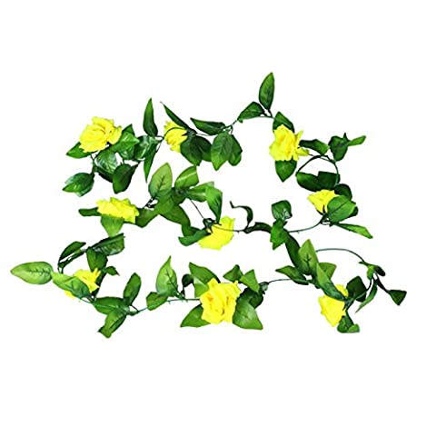 Vlovelife Yellow Artificial Rose Flower Ivy Vine Leaves Garland Hanging Flower Wedding Party Home Decor 2.5 Meters