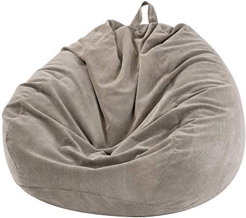 YLOVOW Sitzsack mit Gefüllter Aufbewahrung (Ohne Füllstoff) für Kinder und Erwachsene, Extra Große Sitzsackhülle Aufbewahrung für Kuscheltiere Oder Memory Foam aus Weichem Samt,Grau
