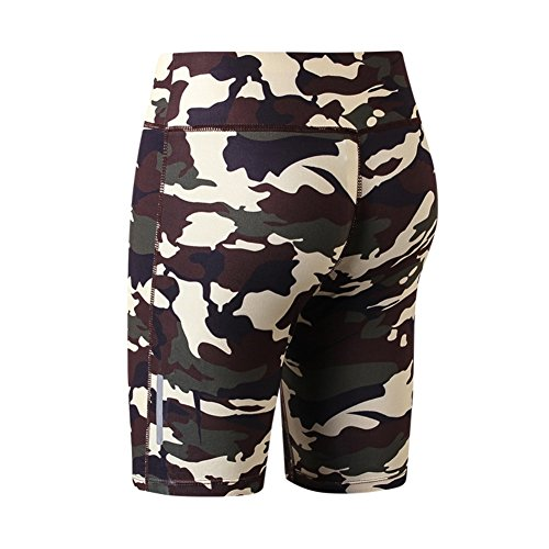 Yalatan Women Camouflage Fitness Yoga Shorts Reflective Stripe Night Running Slim Tight Gym Five Point Shorts High Elastic BreathITLe Giallo
