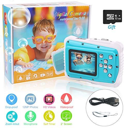 PROACC wasserdichte Kamera für Kinder (bis 3 Meter), Unterwasser Kinderkamera Camcorder FHD1080p 21MP Digital Sportkamera mit 32 GB Speicherkarte, 2.0 '' LCD-Bildschirm, 8X Digital Zoom, Flash Mic Zoom Lcd Flash