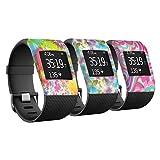 YINUO 3 x Ersatzband Armband Zubehör Band Cover Fälle Für Fitbit Surge Fitness Superwatch Case Cover Gemusterte Stoßstange-Abdeckung (Kombination 5)