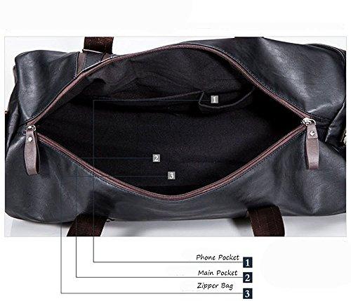 WOMJIA PU Leder Reisetsache Sporttasche Weekender Tasche Handgepäck aus Vintage 35 Liter Braun Schwarz