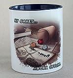 """Rollenspiel-Fanartikel Tasse mit RPG-Motiv """"My Games work offline""""verschiedene Farben"""