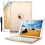 Custodia per tastiera retroilluminata iPad 2, Boriyuan 7 colori Custodia multifunzione esecutiva multifunzione per tastiera bluetooth per iPad Air 2 2014