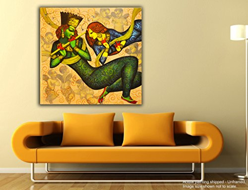 JunkYard Canvas Painting - Radha Krishna - Divine Love - Modern Canvas Art  available at amazon for Rs.348