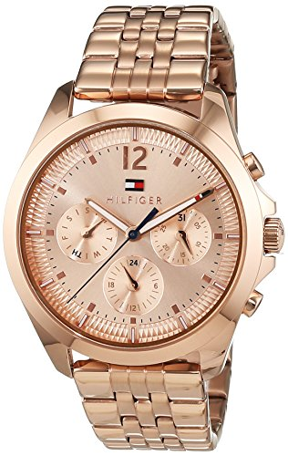 Tommy Hilfiger Womens Quartz Watch, multi dial Display and Rose Gold Strap 1781700