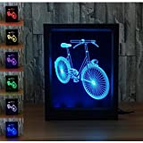 WAOBE Fahrrad 3D Creative Optical Illusion Rahmen LED-Licht, erstaunliche 7 Farbwechsel Acryl Remote...