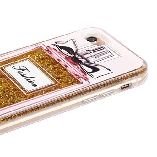 Coque iphone 7 liquide, LuckyW Housse Etui Bouteille de parfum Modèle PC Matériel Hardcase pour Apple iPhone 7 7S(4.7 pouces) 3D Bling Glitter Briller Sparkle Éclat Flowing Fluide Flottant Liquide Sab Bouteille de parfum 4