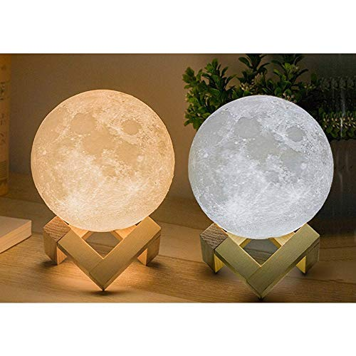 XERGY 10 cm (Small Size) 3D Moon Lamp with Touch Control Adjust Brightness Moon Light with Stand, 2 Colors Led 3D Print Moon Night Light for Valentines Day Gift Ideas Art Decoration