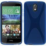 PhoneNatic Case für HTC Desire 526G+ Hülle Silikon blau X-Style + 2 Schutzfolien