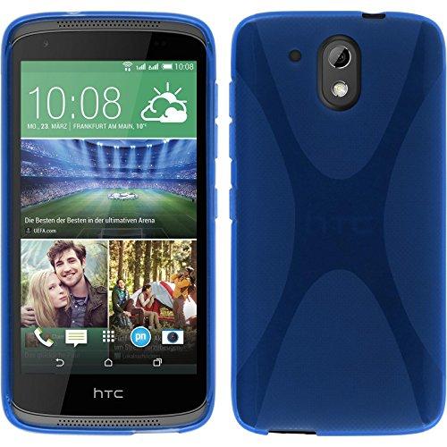PhoneNatic Case für HTC Desire 526G+ Hülle Silikon blau, X-Style + 2 Schutzfolien