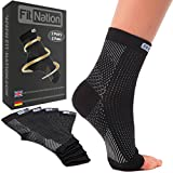 Fit Nation - (2 Paar) Kompressionssocken / Fußgelenk Bandage für effektive Kompression beim Laufen & Sport - Kompressionsstrümpfe für Damen & Herren Schwarz L/XL