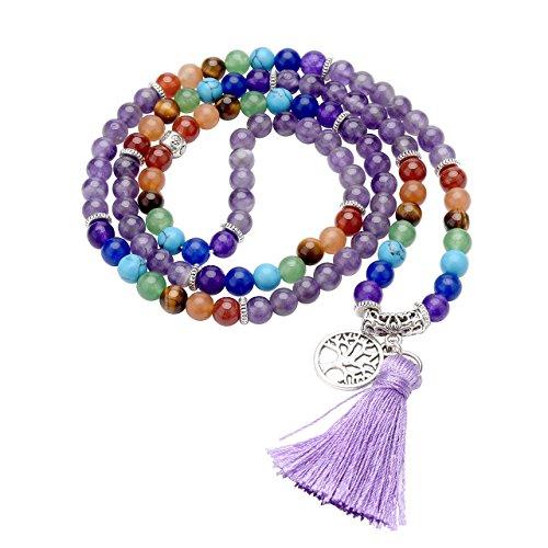 Jovivi Naturstein-Halskette Retro Tibetanische Buddhismus Indien Achat Mala Heilsteine Energie-Therapie für Gebete Yoga 7 Chakra Elastisches Armband - Lebensbaum Ametista
