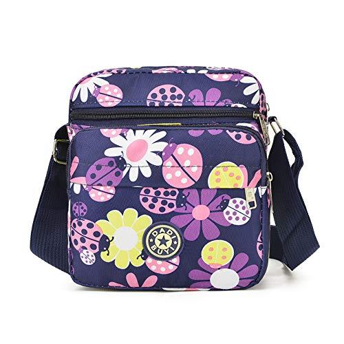 New casual spalla singola stampa diagonale di nylon panno borsa casual mini spalla Messenger bag borsa del telefono cellulare blu fondo sette stelle insetto