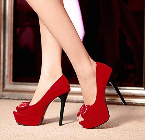 GLTER Frauen Knöchelriemen Pumps Wildleder Bogen High-Heel Sandalen Wasserdichte Plattform Peep Toe Schuhe Red