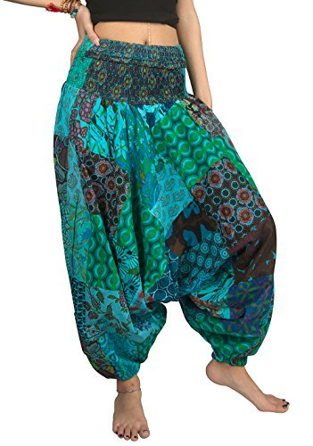 Tribe Azure Fair Trade Pantalones para Mujer Grande Serena Turquesa