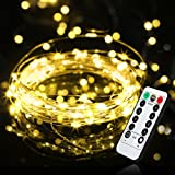 LED Dimmable Fairy Lights 10m 100 LEDs NIUB5 Waterproof 8 Modes Battery Powered Strip Lights for Garden Patio Party Christmas Outdoor Decoration Warm White [Energy Class A+]