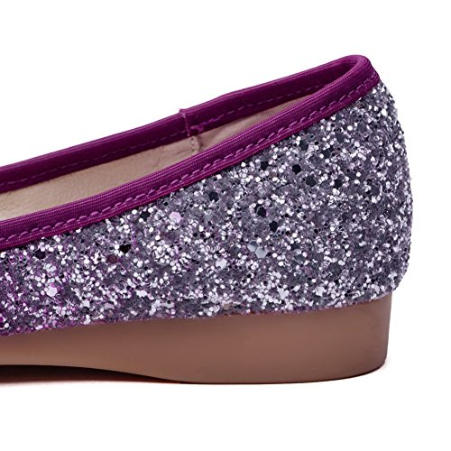 AgooLar Femme Tire Tissu à Paillette Pointu à Talon Bas Couleur Unie Chaussures Légeres Violet