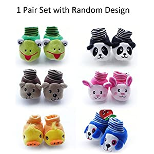 HOME CUBE Baby Girl and Baby Boy Cartoon Face Booties - HC-018, Assorted, 0-6 months 1 Pair Per Order