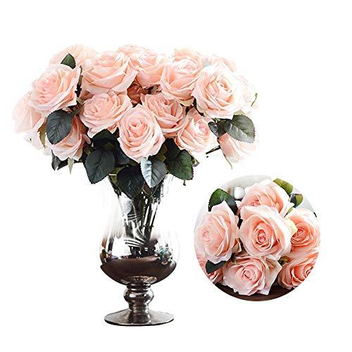 Wood.L Silk Rose White 10 künstliche Blumen Französisch Rose gefälschte Brautstrauß Hochzeit Wohnzimmer Tisch Haus Gartendekoration, eine Vielzahl von Farben für alle zu wählen. - Kopf-tisch-mittelstücke