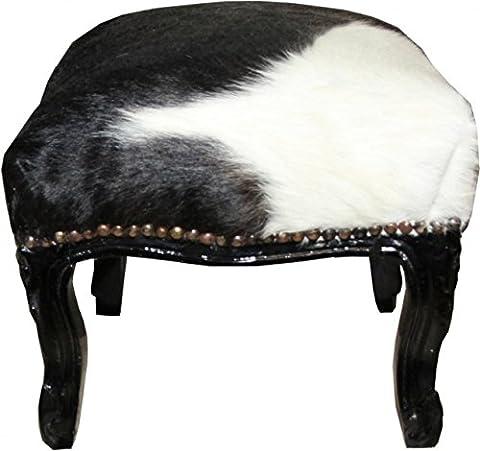 Casa Padrino Baroque footstool Cowhide / Black/White - Antique furniture - Stool