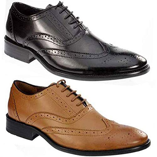 MENS PIERRE CARDIN LEATHER BROGUE SHOES ITALIAN FORMAL OFFICE SMART WEDDING LACE UP SHOES SIZE 7 – 12 (BLACK LEATHER, MENS UK SZ 10)