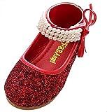 Happy Cherry Mädchen Paillette Ballerina Schuhe mit Riemchen Klettverschluss Kleine Prinzessin - Rot Größe 32