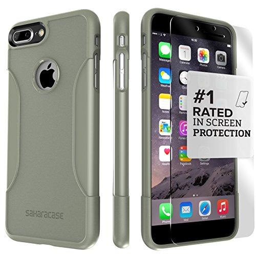 iPhone 7 Plus Hülle, (Schwarz) SaharaCase® + [ZeroDamage gehärtetes Glas Bildschirmschutz] Schutz Kit Paket mit Null Schaden Robuster Schutz Anti-Rutsch-Griffigkeit [Stoß sicherer Puffer] Schlanke Pas Armee-Grün
