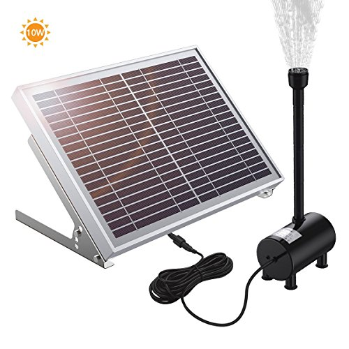 POWERADD Solar Teichpumpe 10 Watt Solar Springbrunnen mit dem Solarmodul 100-1350 l/h Förderleistung 30-200 cm Förderhöhe Komplettset Gartenteich