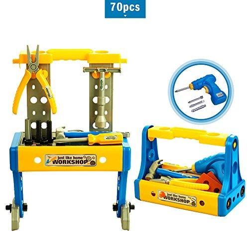 Bfull Kinder Werkzeugset für Kinder ab 3 Jahren, 70PCS Deluxe Spielzeug Werkbank Set, Kinder Bau-Workshop mit Vollständigem Satz Kunststoff-Werkzeuge und Bohrmaschine