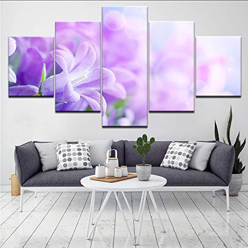 ljtao Die Rosa Lila Blumen 5 Stück Tapeten Kunst Leinwand Drucken Moderne Poster Modulare Kunst Malerei Für Wohnzimmer Wohnkultur-40Cmx60/80/100Cm-Frame
