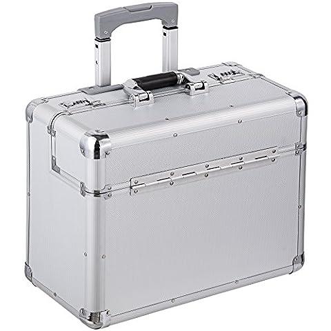 TecTake® Pilotenkoffer 47x39x25 cm Handgepäck Businesskoffer Aktenkoffer Koffer Trolley silber