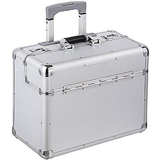 TecTake Maletín de piloto cabin maleta trolley con cerradura y ruedas plata