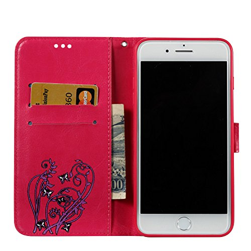 Custodia iPhone 7 Plus, iPhone 7 Plus Flip Case Leather, SainCat Custodia in Pelle Cover per iPhone 7 Plus, Bling Glitter Anti-Scratch Book Style Protettiva Caso PU Leather Flip Portafoglio Custodia L Red Rose