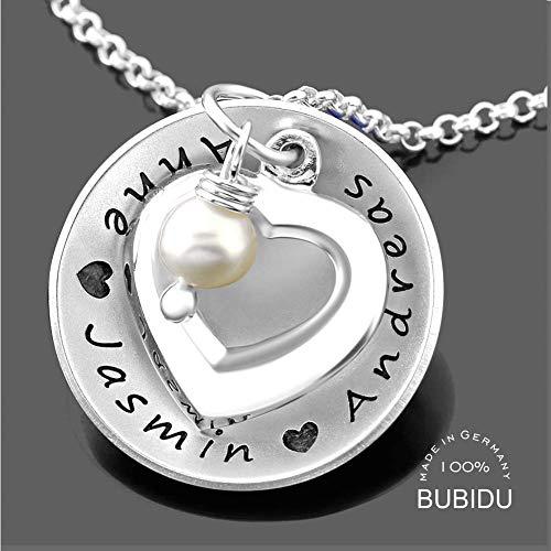 Damenkette 925 Silber mit Gravur ❤️ Namenskette Geschenk Mama Oma Muttertag ❤️ Collier Namen Halskette Namensgravur Familienkette Herz Kette Geburt Mamaschmuck